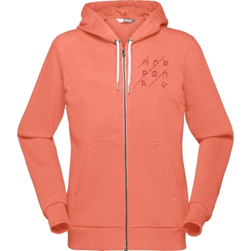 norrøna /29 cotton slant logo zip hood flamingo